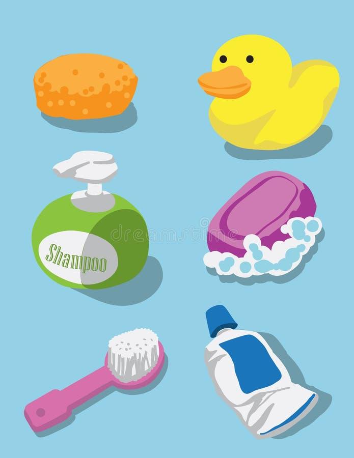 Kąpielowy zestaw dla dzieciaków obraz royalty free