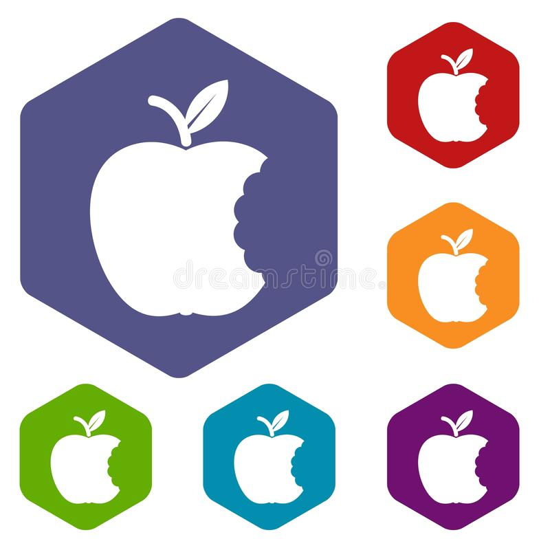 Kąsek ikon wektoru jabłczany sześciobok ilustracji