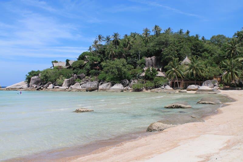 Kąt biel plaża na Koh Tao wyspie fotografia stock