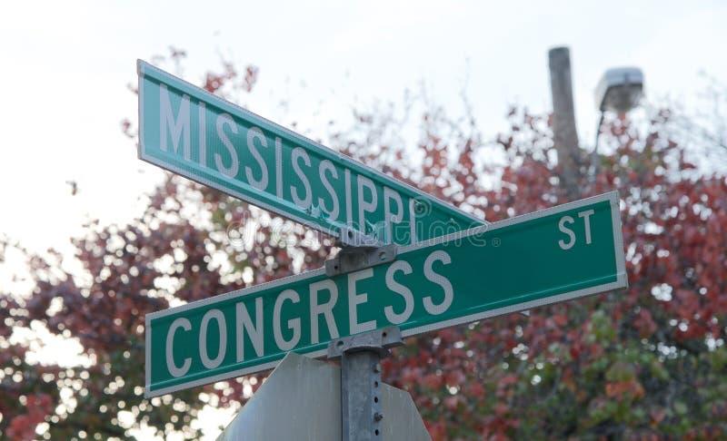 Kąt Mississippi i Kongresowe ulicy fotografia stock