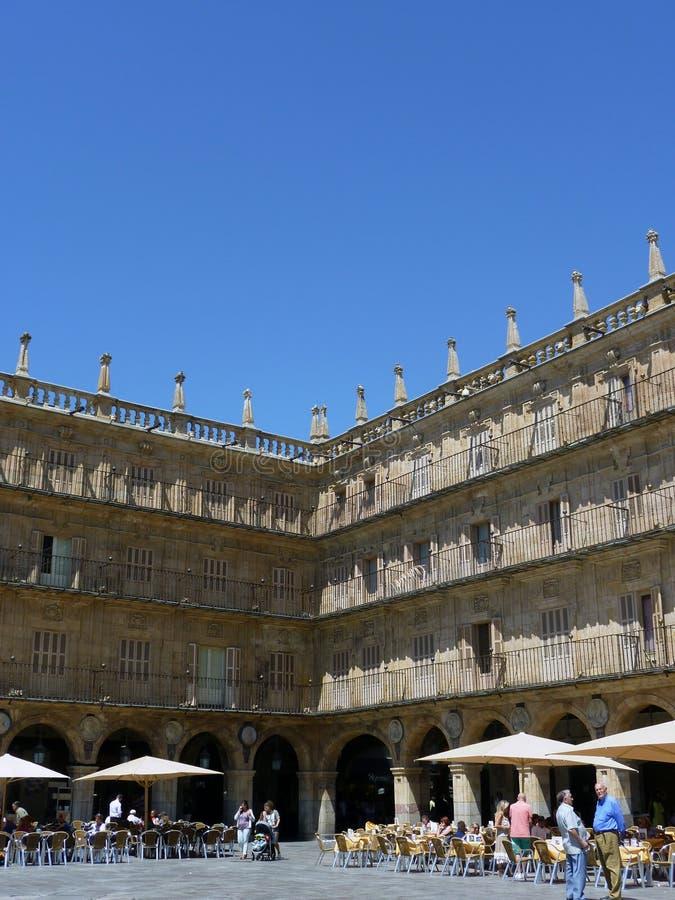 Kąt placu Mayor w Salamanca, Hiszpania fotografia royalty free