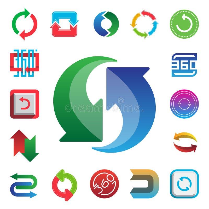Kąt 360 stopni sieci ikony kształtuje oceny geometrii matematyki znaków wektorowa ilustracyjna odznaka folujących ewidencyjnych s ilustracji