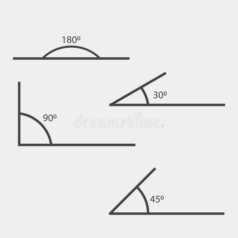 Kąt 180, 45,30,90 stopni wektor ilustraci Symbol o royalty ilustracja