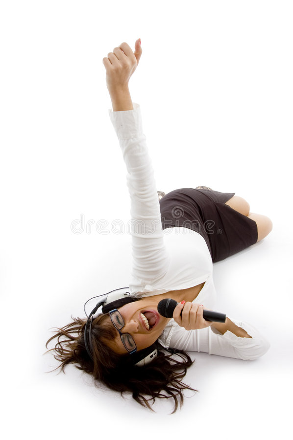 kąta żeńscy wysocy piosenkarza widok potomstwa fotografia stock