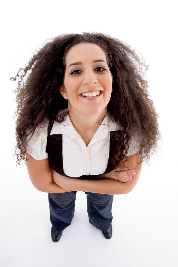 kąta wysoka uśmiechnięta widok kobieta zdjęcia stock