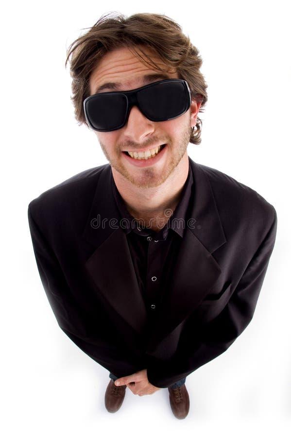 kąta wysokiego mężczyzna zadowolony widok zdjęcia stock