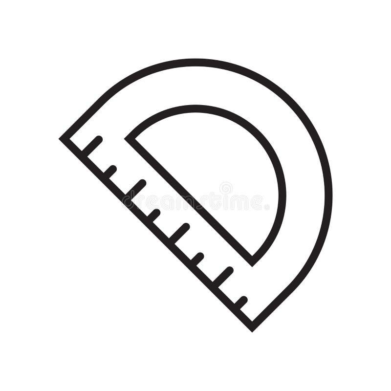 Kątomierz ikony wektoru znak i symbol odizolowywający na białym tle, kątomierza logo pojęcie ilustracja wektor