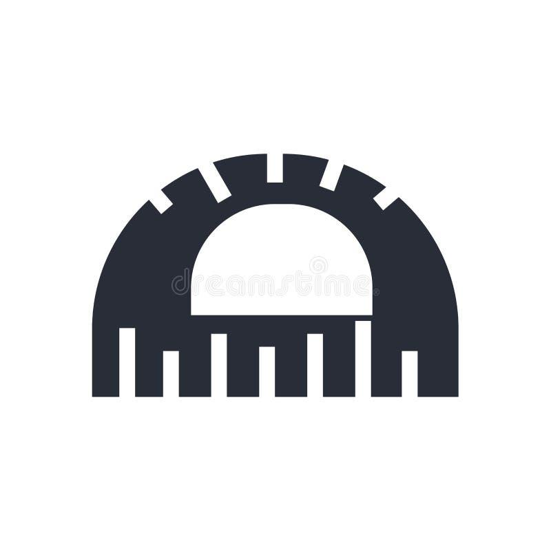 Kątomierz ikony wektoru znak i symbol odizolowywający na białym tle, kątomierza logo pojęcie royalty ilustracja