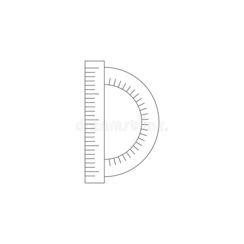 Kątomierz z władcy ikoną Prosta element ilustracja Kątomierz z władca symbolu projekta szablonem Może używać dla sieci i motłochu ilustracja wektor
