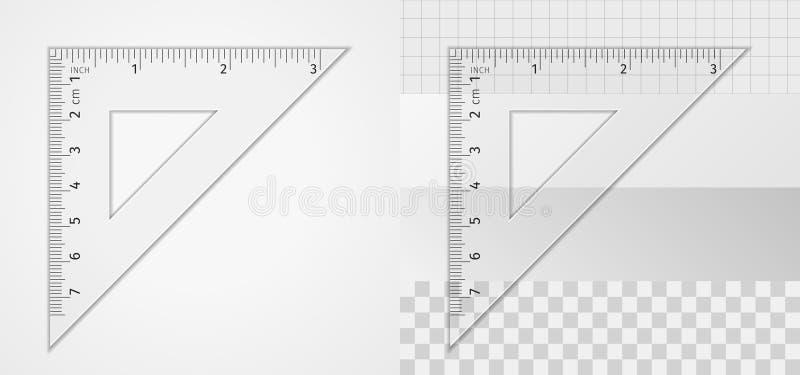 kątomierz zamknięta cyrklowa szkoła ximpx cyrklowy narzędzia pomiarowego Trójbok władca 7 cm i 3 cala ilustracja wektor