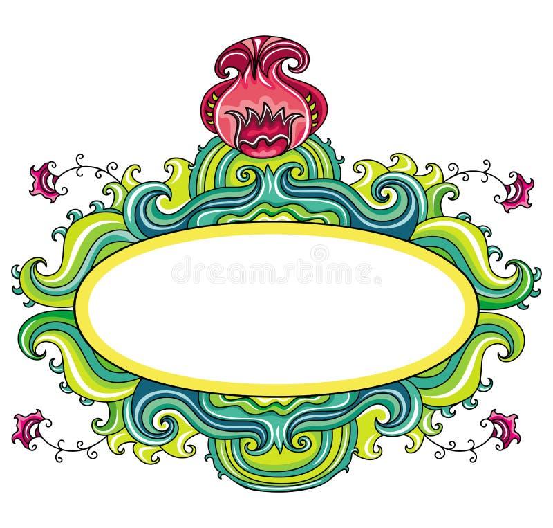 kędzierzawa kwiecista rama ilustracji