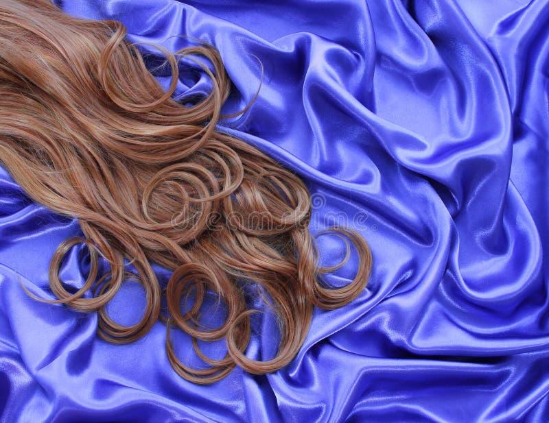 Kędzierzawy brown włosy na błękitnej jedwabniczej tkaninie zdjęcia stock