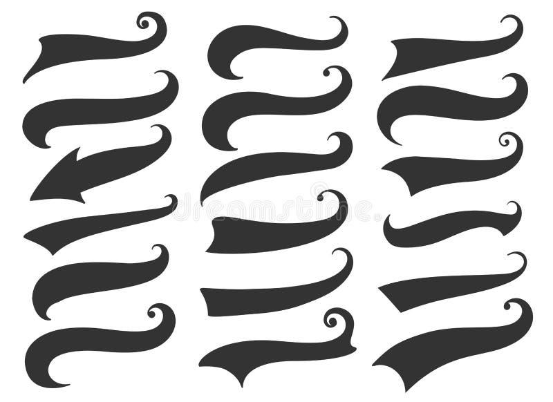 Kędzierzawy chłosta ogony dla retro sztandarów royalty ilustracja
