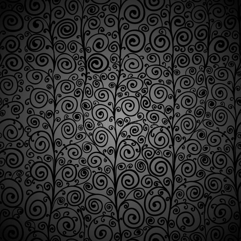 Kędzierzawy czarny bezszwowy wzór ilustracji