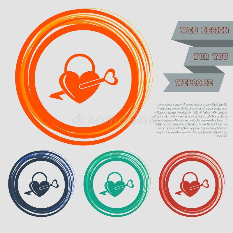 Kędziorek ikony Prosta sylwetka kędziorek dla drzwi Kształt serce na czerwonym, błękitny, zielony, pomarańcze zapina dla twój web royalty ilustracja