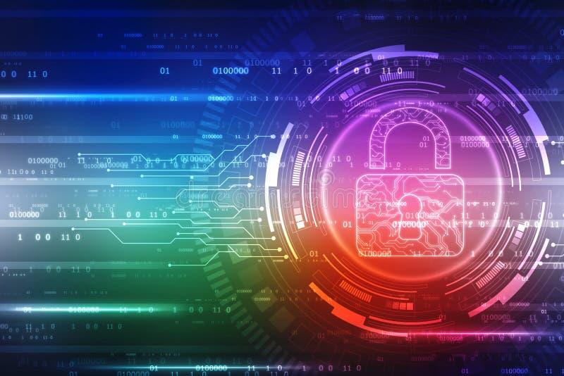 Kędziorek na cyfrowym ekranie Technologii ochrony poj?cie Nowo?ytny zbawczy cyfrowy t?o System ochrony ilustracji
