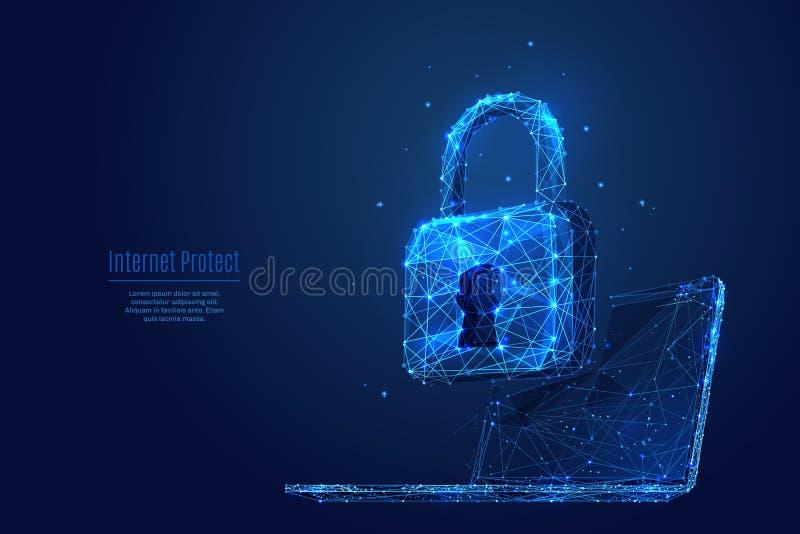 Kędziorek na laptopie Dane ochraniają i zabezpieczają ilustracji