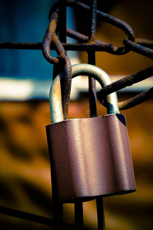 kędziorek na metalu łańcuchu makro- fotografii zdjęcie royalty free