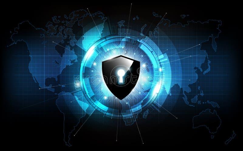 Kędziorek osłona z ochrona kędziorka pojęciem i futurystyczny elektroniczny na światowej mapy technologii tle, wektorowa ilustrac ilustracji