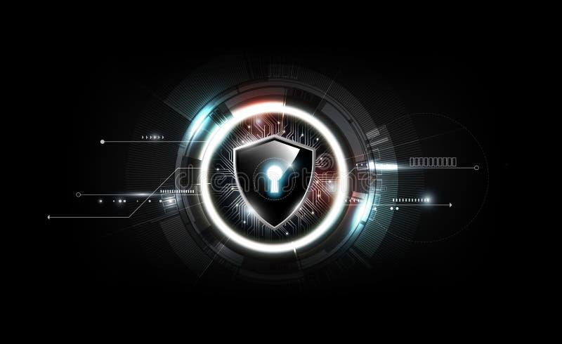 Kędziorek osłona z ochrona kędziorka pojęciem i futurystycznym elektronicznym technologii tłem, ilustracyjny wektor royalty ilustracja