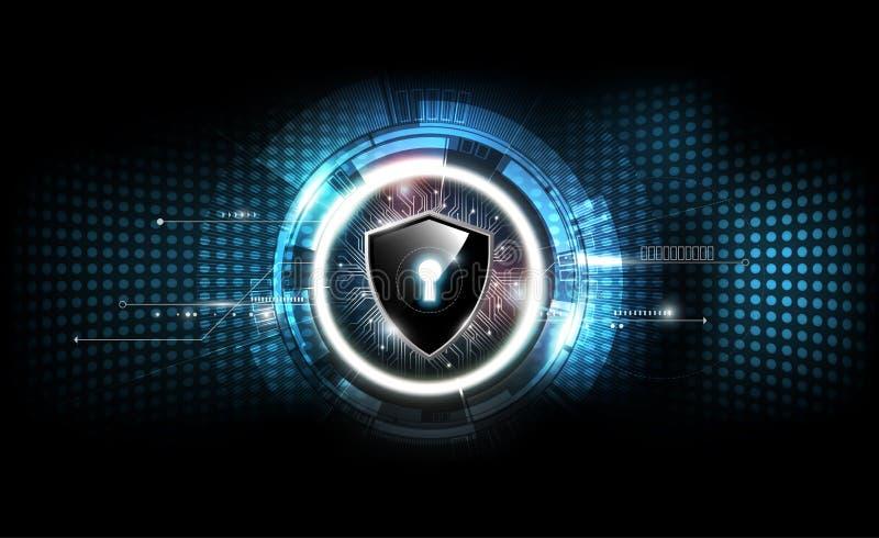 Kędziorek osłona z ochrona kędziorka pojęciem i futurystycznym elektronicznym technologii tłem, przejrzysty wektor ilustracja wektor