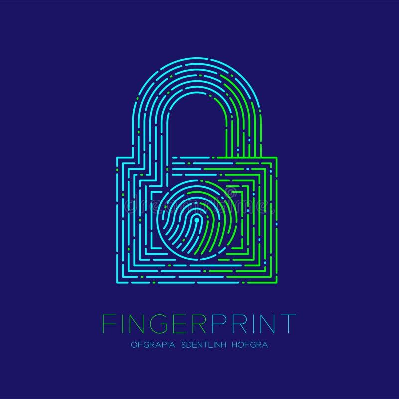 Kędziorka kształta wzoru odcisk palca obrazu cyfrowego logo ikony junakowania linia, ochrony prywatności pojęcie Editable uderzen ilustracji