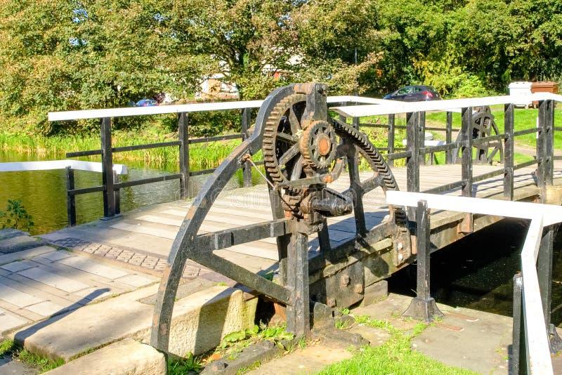 Kędziorka mechanizm na Huśtawkowym moscie przy Naprzód & Clyde kanał Szkocja zdjęcie royalty free