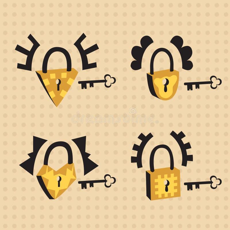 Kędziorki z kluczami ilustracja wektor