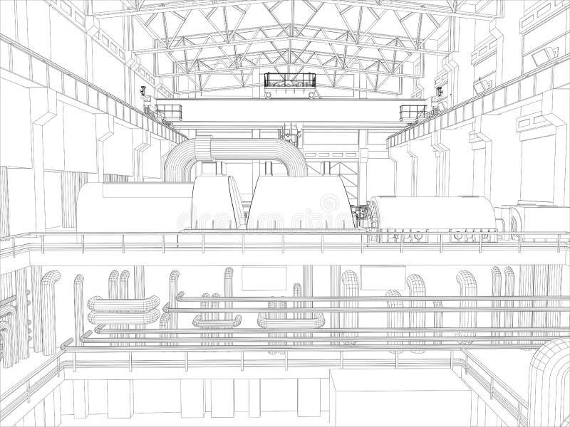 Kętnara żuraw w fabrycznym środowisku. Rama royalty ilustracja