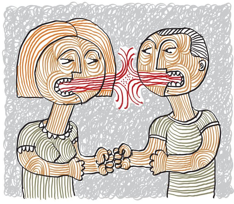 Kłóci się między mężczyzna i kobiety konceptualnym pociągany ręcznie stripy illus ilustracji