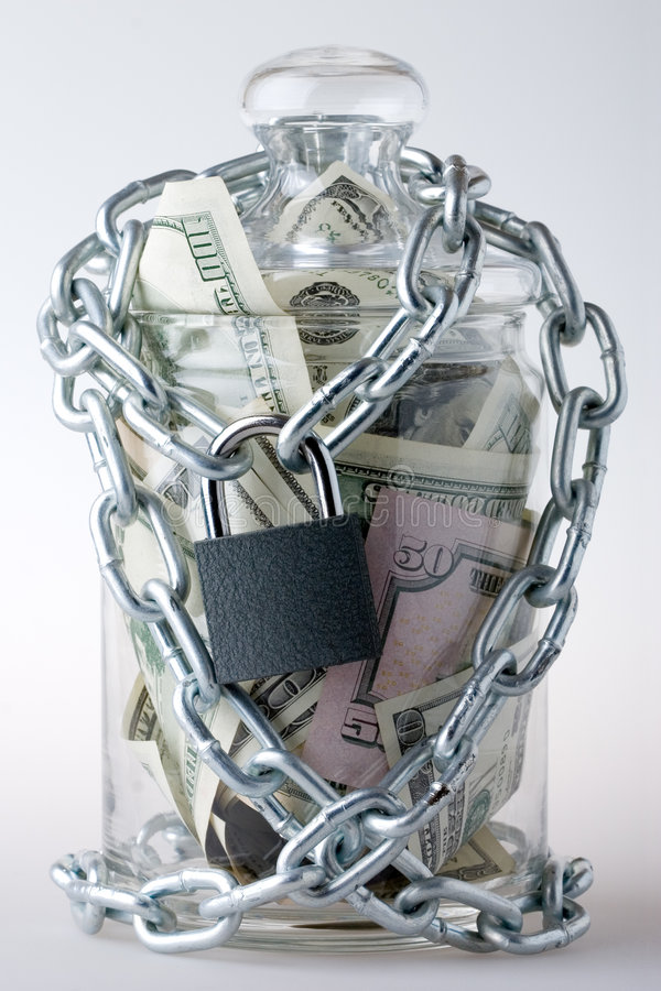kłódka słoiku pieniądze obraz stock