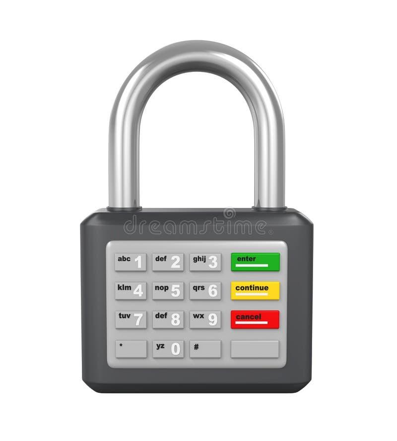 Kłódka z ATM klawiaturą ilustracji