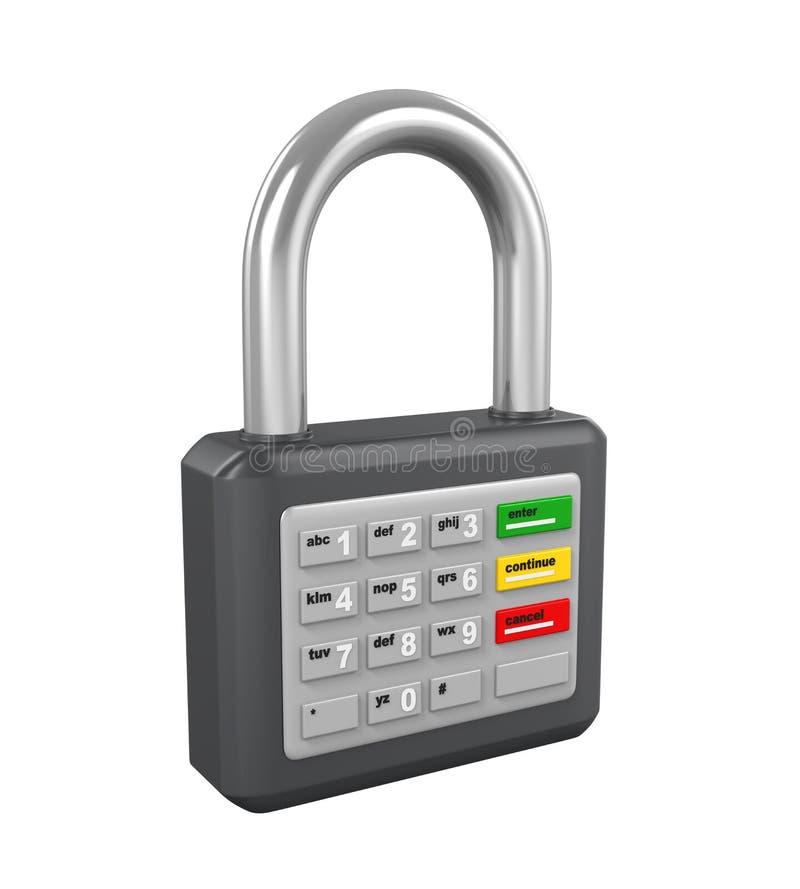 Kłódka z ATM klawiaturą ilustracja wektor