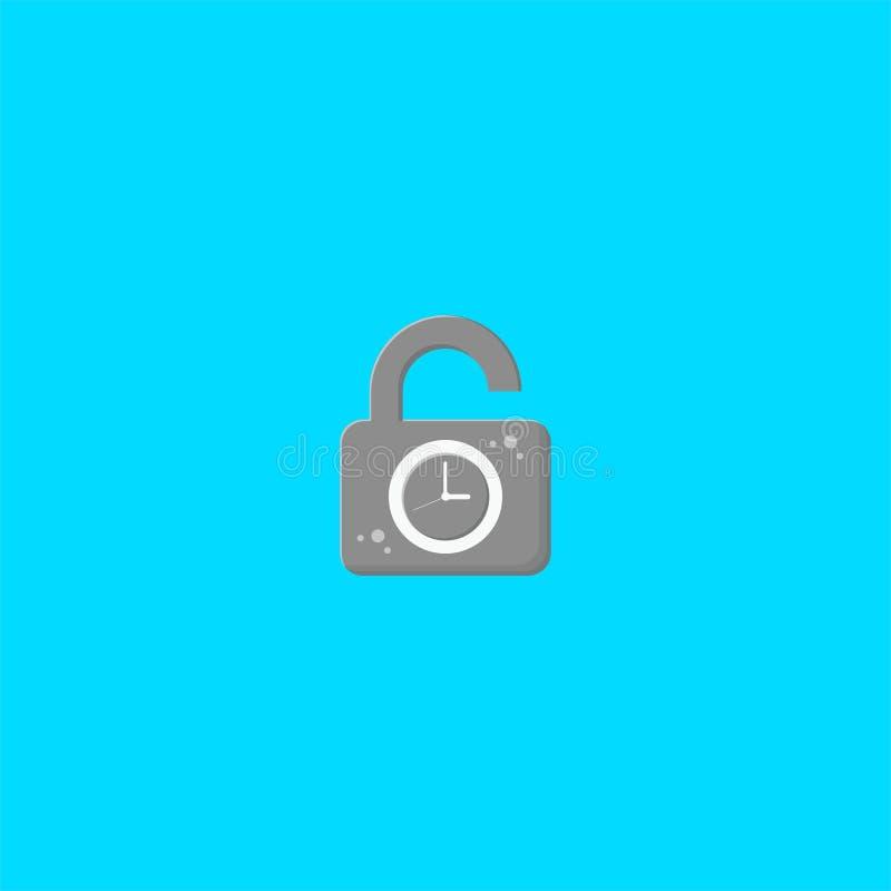 Kłódki i zegaru logo projekt symbolu Dan ikony wektoru szablon ilustracja wektor
