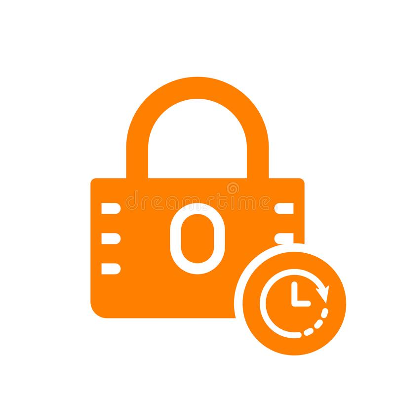 Kłódki ikona, ochrony ikona z zegaru znakiem Kłódki ikona i odliczanie, ostateczny termin, rozkład, planistyczny symbol royalty ilustracja