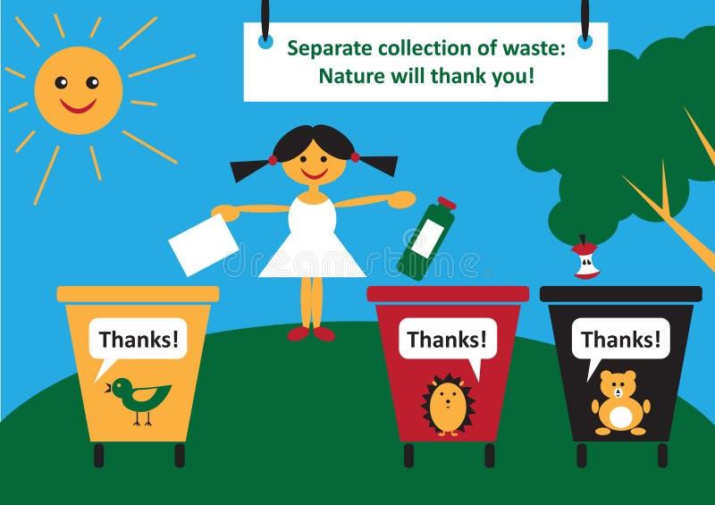 Kładzenie śmieci stosownie ilustracja wektor