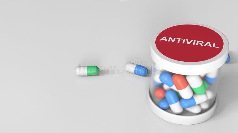 Kładzenie leka przeciwwirusowe kapsuły w słój konceptualny utylizacji 3 d zdjęcie royalty free