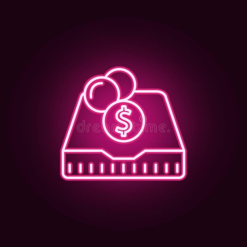 kładzenie w cent neonowej ikonie Elementy bankowość set Prosta ikona dla stron internetowych, sieć projekt, mobilny app, ewidency royalty ilustracja