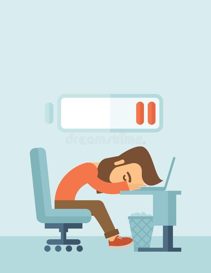 Kłamać zmęczonego pracownika royalty ilustracja