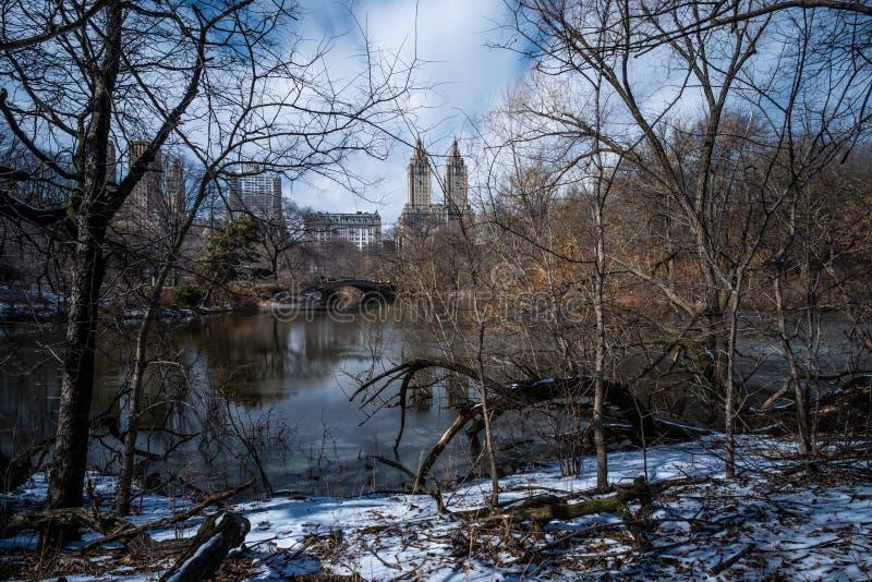 Kłania się most Remo i San central park z śniegiem w zimie fotografia royalty free