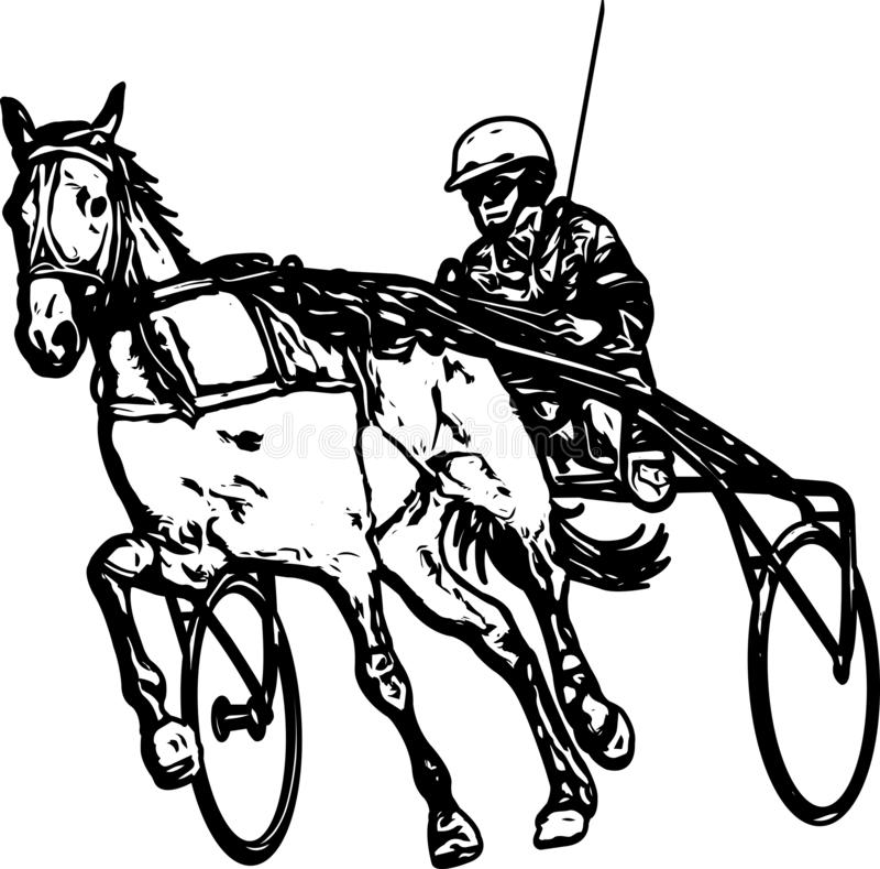 Kłusak w nicielnica rysunku ilustracji