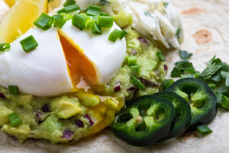 Kłusujący jajka i guacamole kumberland na mąki tortilla fotografia stock