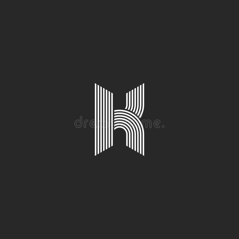 K信件商标组合图案大模型,黑白最初的象征,垂距光滑的稀薄的线几何形状 皇族释放例证