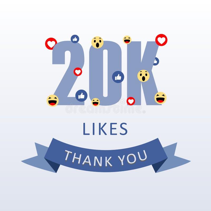 20K喜欢感谢您与emoji和心脏社会媒介谢意ecard的数字 向量例证