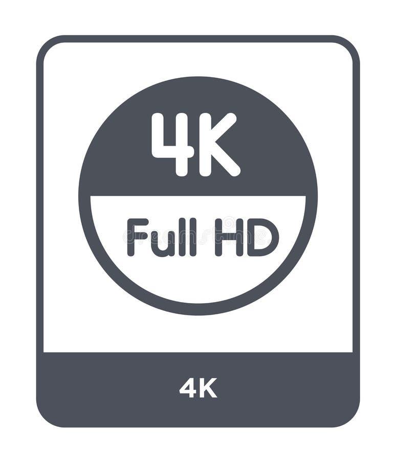 4k在时髦设计样式的象 4k在白色背景隔绝的象 4k网站的传染媒介象简单和现代平的标志, 皇族释放例证