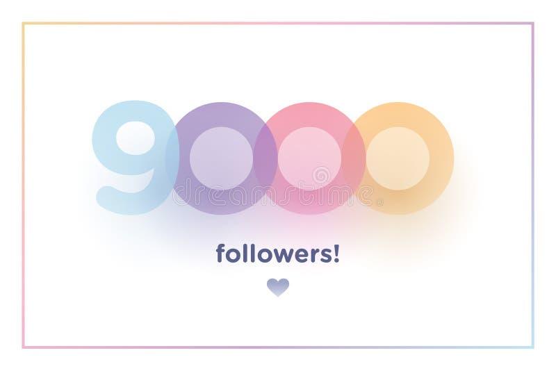 9k或9000,追随者感谢您与软的阴影的五颜六色的背景数字 人脉朋友的,追随者例证, 向量例证