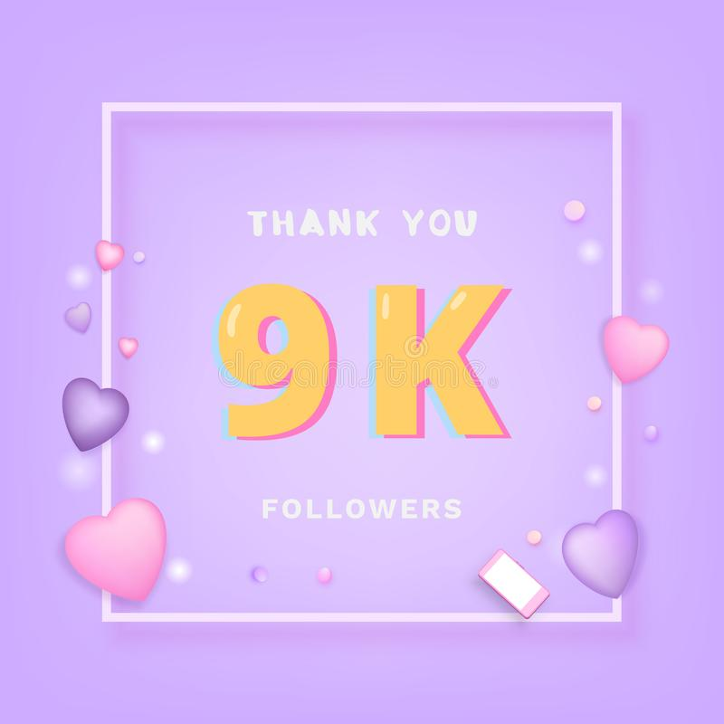9K追随者感谢您 也corel凹道例证向量 向量例证
