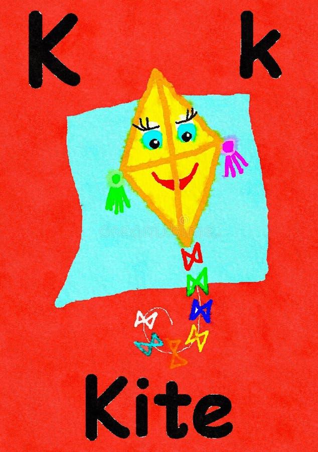 K è per l'aquilone Impari l'alfabeto e l'ortografia illustrazione vettoriale