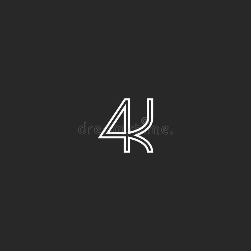 4k γραπτό έμβλημα μονογραμμάτων λογότυπων, υπερβολικό εικονίδιο έννοιας ψηφίσματος τηλεοπτικό γράφοντας ελεύθερη απεικόνιση δικαιώματος