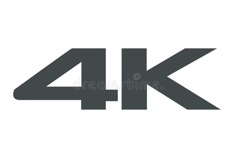 4K εικονίδιο στο άσπρο υπόβαθρο απεικόνιση αποθεμάτων